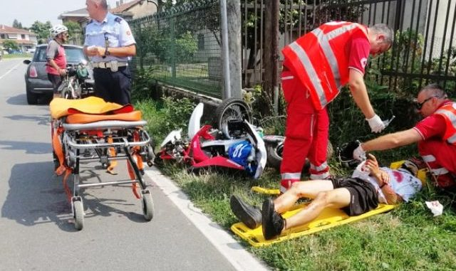 Incidente moto elisoccorso ferno
