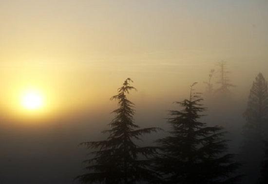 nebbia nubi alte sole