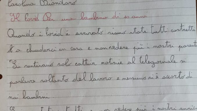 lettera bambini Carolina Biondaro covid
